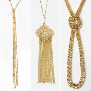 3 Goldtone Necklaces Chain Fringe Costume Jewelry